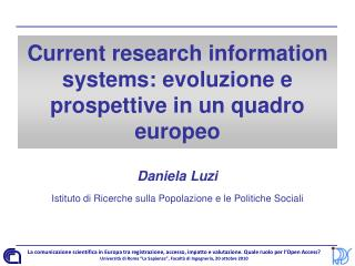 Current research information systems: evoluzione e prospettive in un quadro europeo