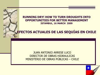 JUAN ANTONIO ARRESE LUCO DIRECTOR DE OBRAS HIDRAULICAS MINISTERIO DE OBRAS PÚBLICAS – CHILE