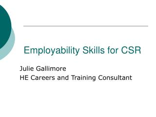 Employability Skills for CSR