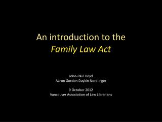 An introduction to the  Family Law Act