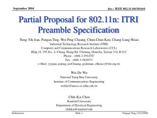 Partial Proposal for 802.11n: ITRI Preamble Specification