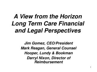 A View from the Horizon Long Term Care Financial and Legal Perspectives