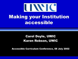 Making your Institution accessible