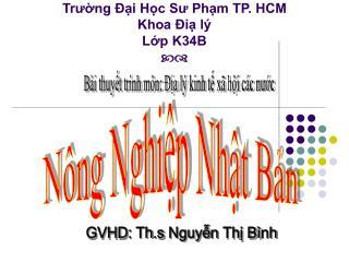 Trường Đại Học Sư Phạm TP. HCM Khoa Điạ lý Lớp K34B 