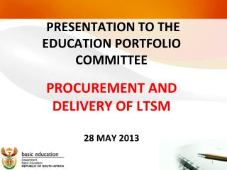 PRESENTATION TO THE EDUCATION PORTFOLIO COMMITTEE
