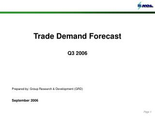 Trade Demand Forecast Q3 2006