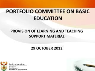 PORTFOLIO COMMITTEE ON BASIC EDUCATION