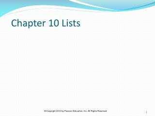Chapter 10 Lists