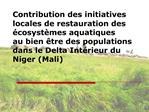 Contribution des initiatives locales de restauration des  cosyst mes aquatiques  au bien  tre des populations dans le De
