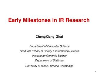Early Milestones in IR Research