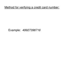 Method for verifying a credit card number: