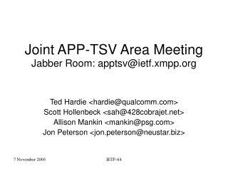 Joint APP-TSV Area Meeting Jabber Room: apptsv@ietf.xmpp