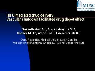 HIFU mediated drug delivery:  Vascular shutdown facilitates drug depot effect