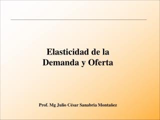 Elasticidad de la Demanda y Oferta Prof. Mg Julio César Sanabria Montañez