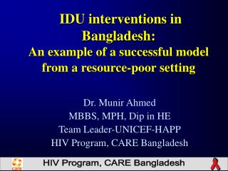 IDU interventions in Bangladesh: An example of a successful model from a resource-poor setting
