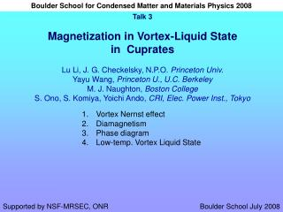 Vortex Nernst effect Diamagnetism Phase diagram Low-temp. Vortex Liquid State
