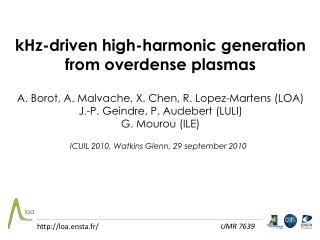 kHz-driven high-harmonic generation from overdense plasmas