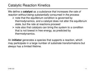 Catalytic Reaction Kinetics
