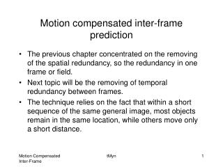 Motion compensated inter-frame prediction