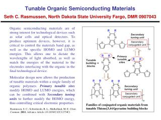Families of conjugated organic materials from tunable  Thieno [3,4- b ] pyrazine  building  blocks