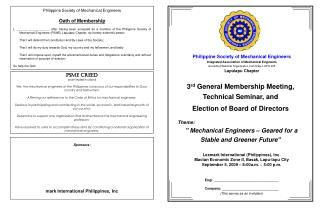 3 rd  General Membership Meeting,  Technical Seminar, and  Election of Board of Directors
