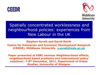 Spatially concentrated worklessness and neighbourhood policies: experiences from New Labour in the UK