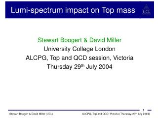 Lumi - spectrum impact on Top mass