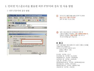 인터넷 익스플로러를 실행시킨후 주소창에  ftp://121.138.173.247 입력 후 해당 주소로 연결