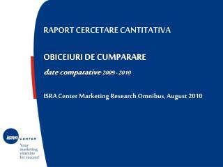 RAPORT CERCETARE CANTITATIVA   OBICEIURI DE CUMPARARE d ate comparative  2009 - 2010