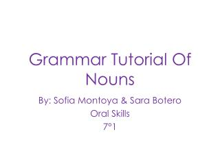 Grammar  Tutorial Of  Nouns