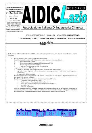 N°12 Apr.- Lugl.  2004 •