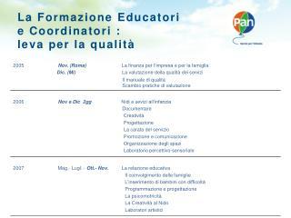 La  Formazione Educatori e  Coordinatori  :  leva  per la  qualità