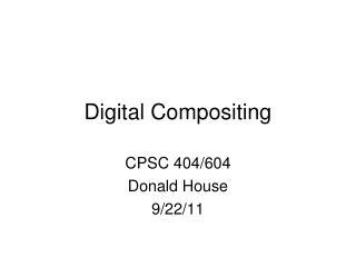 Digital Compositing