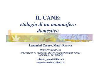 IL CANE: etologia di un mammifero domestico