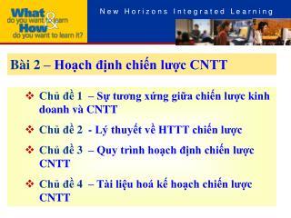 Bài 2 –  Hoạch định chiến lược CNTT