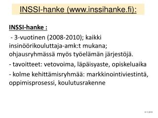 INSSI-hanke ( inssihanke.fi ):
