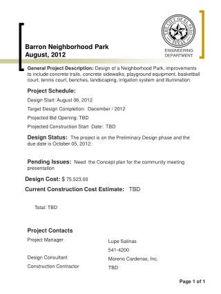 Barron Neighborhood Park August, 2012