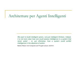Architetture per Agenti Intelligenti