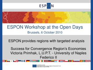 ESPON Workshop at the Open Days Brussels, 6 October 2010