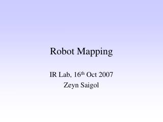 Robot Mapping
