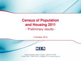 Census of Population  and Housing 2011 -  Preliminary results -