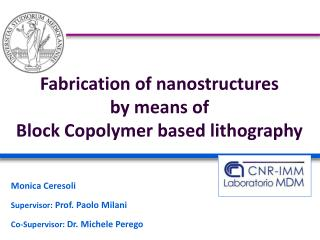 Fabrication of nanostructures  by means of  Block Copolymer based lithography
