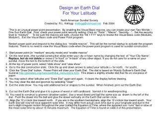 Design an Earth Dial For Your Latitude