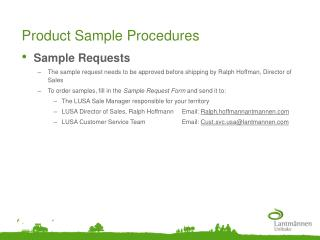 Product Sample Procedures