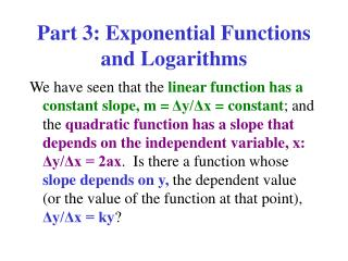 Part 3: Exponential Functions and Logarithms
