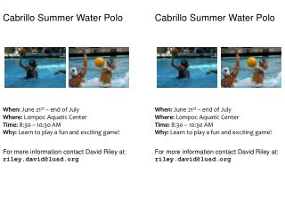 Cabrillo Summer Water Polo