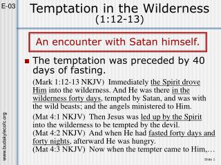 Temptation in the Wilderness (1:12-13)
