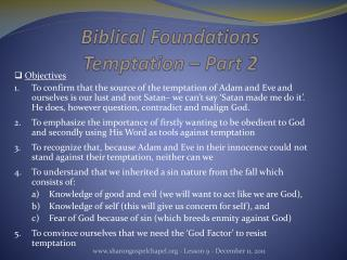 Biblical Foundations Temptation – Part 2