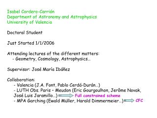 Isabel Cordero-Carri�n Department of Astronomy and Astrophysics University of Valencia