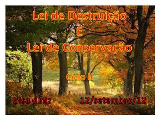 Lei de  Destruição E Lei de  Conservação Ciclo  II Gisa diniz              12/ setembro /12